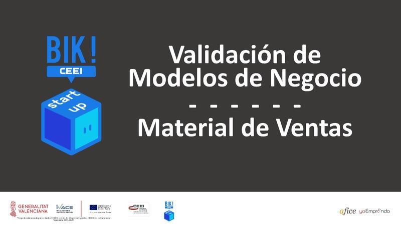 Material de Ventas - Validación de Modelos de Negocio - BIKSTARTUP