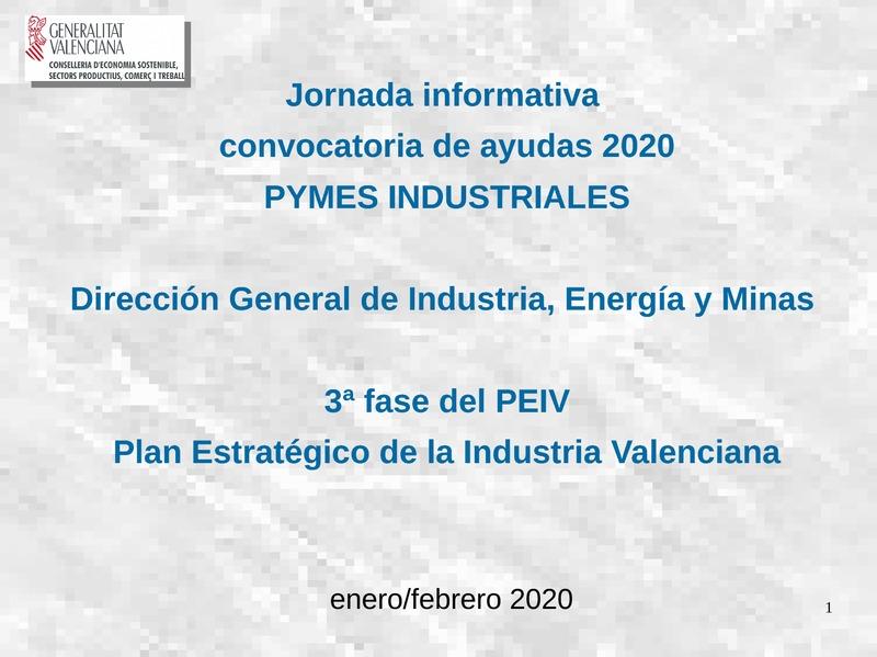 Ayudas Dirección General de Industria, Energía y Minas 2020